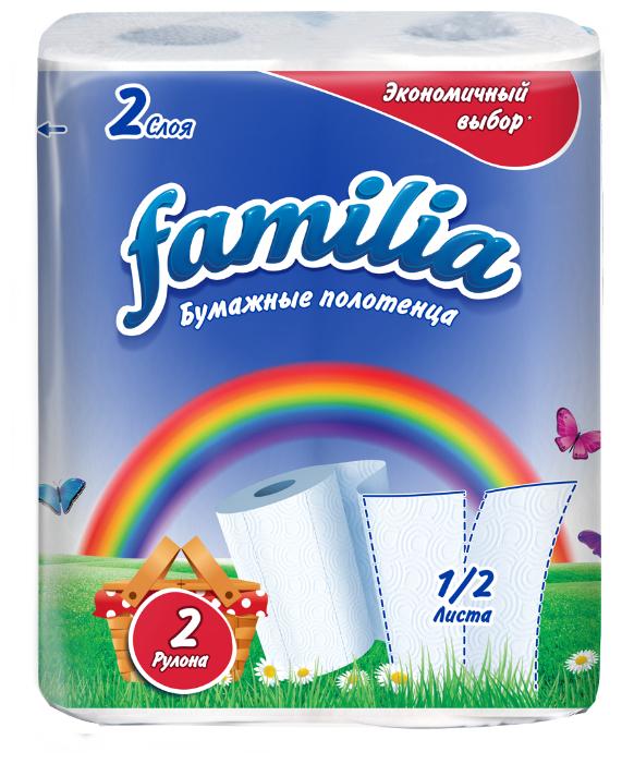 Полотенца бумажные Familia Радуга белые двухслойные, 2 рул.