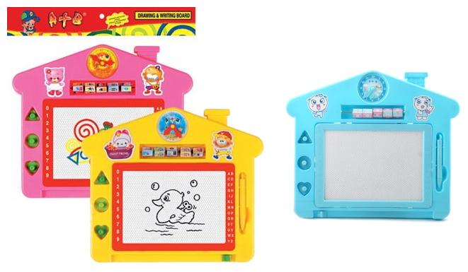 Доска для рисования детская Shenzhen Toys Домик с карандашом и циферблатом (3051)