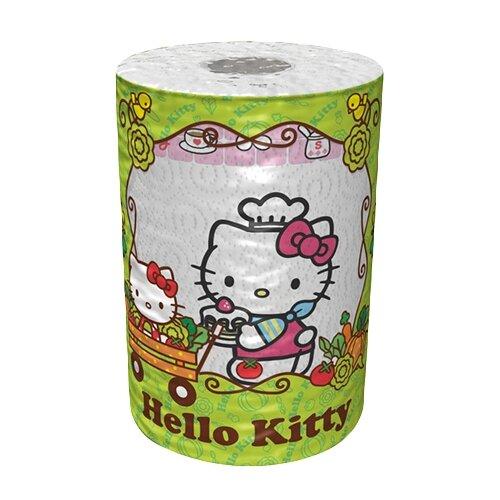 Полотенца бумажные World Cart Hello Kitty белые с рисунком трёхслойные, 1 рул.Туалетная бумага и полотенца<br>