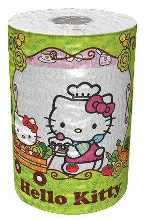 Полотенца бумажные World Cart Hello Kitty белые с рисунком трёхслойные