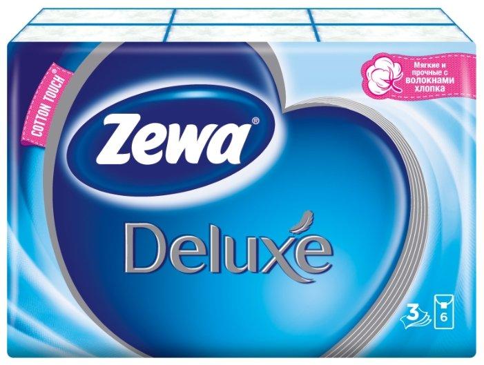 Платочки Zewa Deluxe бумажные носовые, 3 слоя, 10 шт. x 10, 100 шт.