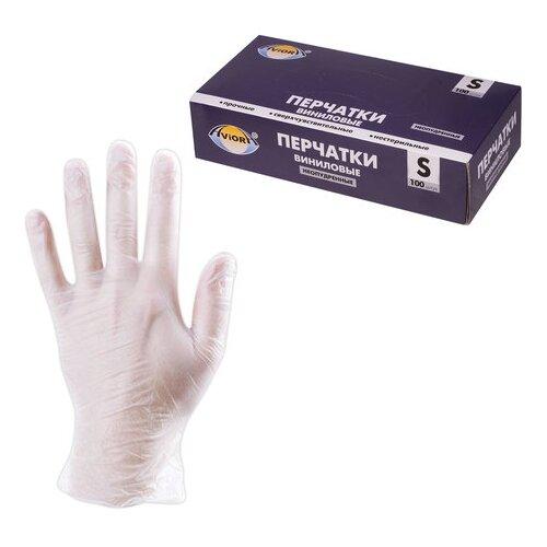 Перчатки Aviora Виниловые неопудренные, 50 пар, размер S, цвет белый
