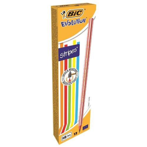 Купить BIC Набор чернографитных карандашей Evolution Stripes 12 шт (918487), Карандаши