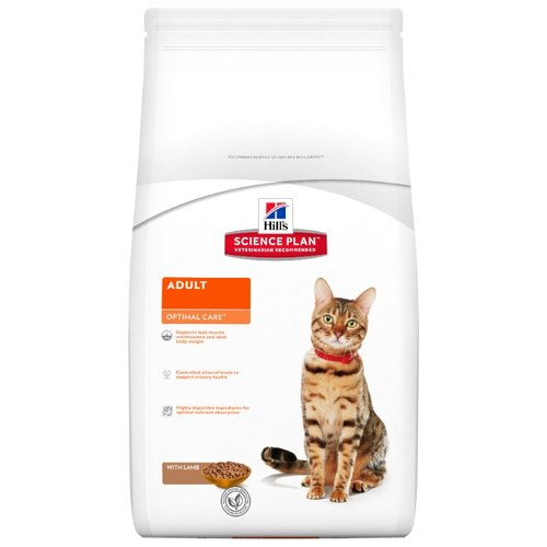 Корм для кошек Hills Science Plan Feline Adult Optimal Care with Lamb (10 кг)Корма для кошек<br>