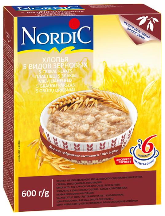 Хлопья NORDIC (Нордик) 5 видов зерновых, с 12 мес., 600 гр.