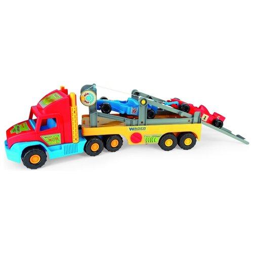 Набор машин Wader Super Truck с Формулой (36620) 77.5 см красный/желтый/голубой