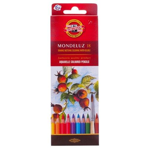Купить KOH-I-NOOR Карандаши акварельные Mondeluz, 18 цветов (3717018001KS), Цветные карандаши