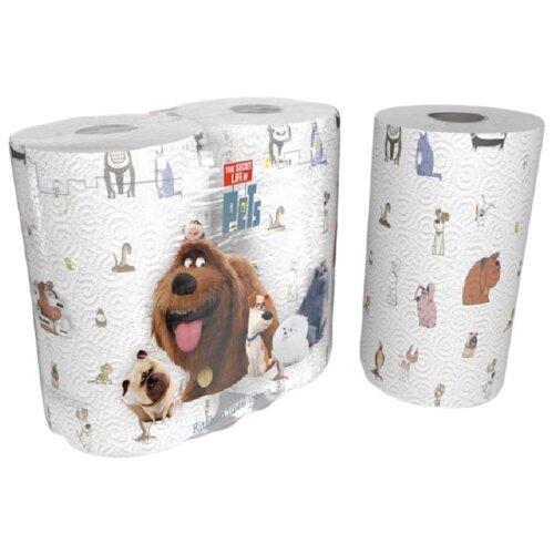 Полотенца бумажные World Cart The secret life of pets белые с рисунком трёхслойные, 2 рул.Туалетная бумага и полотенца<br>