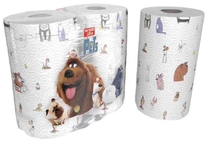 Полотенца бумажные World Cart The secret life of pets белые с рисунком трёхслойные