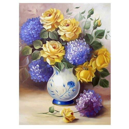 Алмазная живопись Набор алмазной вышивки Розы и гортензии (АЖ-1508) 30х40 смАлмазная вышивка<br>