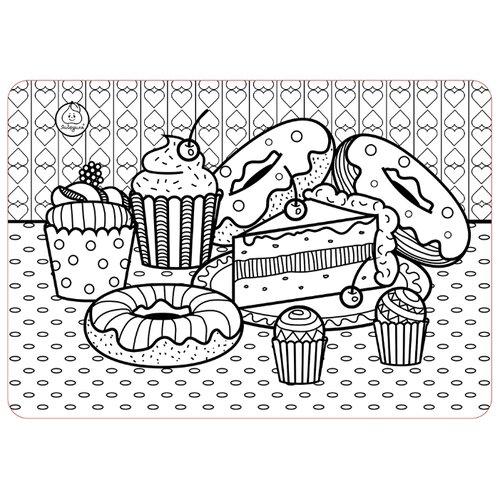 ЯиГрушка Коврик-раскраска Пирожные (маленький), Раскраски  - купить со скидкой