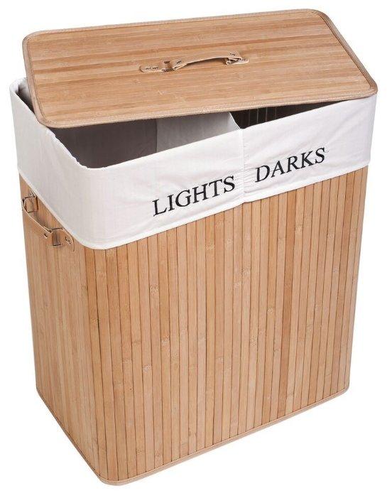 Корзина для белья Tatkraft CAROLINA Большая бамбуковая со съемным текстильным чехлом с отделениями для темного и светлого, 105 л (15289)