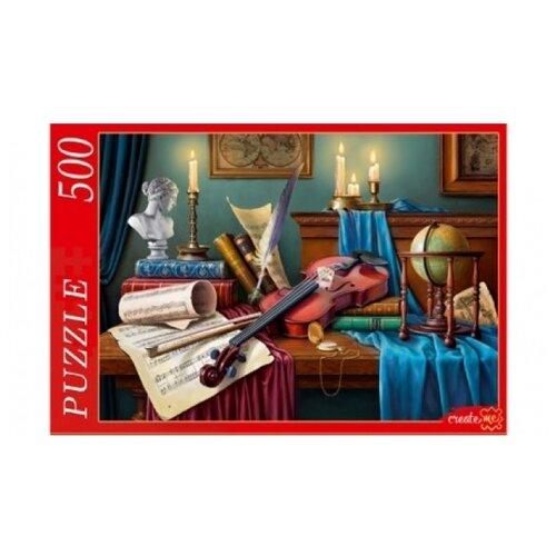 цена на Пазл Рыжий кот Натюрморт со скрипкой и свечами (Ф500-8281), 500 дет.