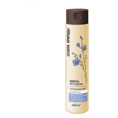 Купить Bielita шампунь-восстановление Сила природы с маслом льна для поврежденных волос с антистатическим эффектом, 400 мл