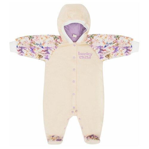 Комбинезон lucky child размер 26, фиолетовый/бежевыйКомбинезоны<br>