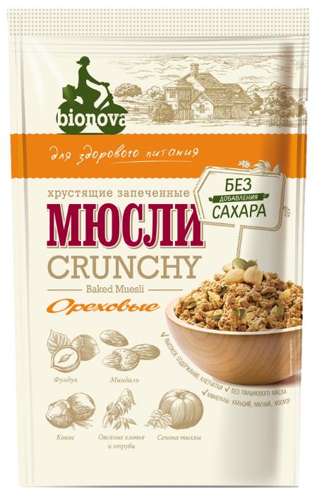 Мюсли ореховые Bionova хрустящие запеченные, 400 г