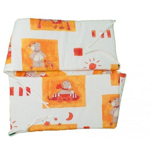 комплекты в кроватку Alvi бортик в кроватку Медвежата белый/оранжевый