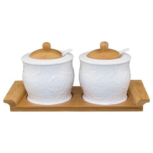 Elan gallery Набор банок для хранения Белые розы 2 шт. elan gallery набор тарелок для закуски белый узор 20 5 см 2 шт 540157 белый