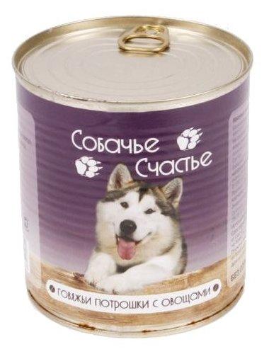 Корм для собак Собачье Счастье Консервы для собак Говяжьи потрошки с овощами