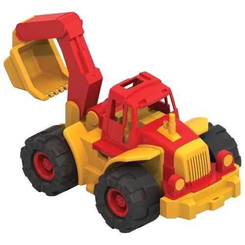 Купить Трактор Нордпласт Богатырь с ковшом (098) 47 см желтый/красный, Машинки и техника