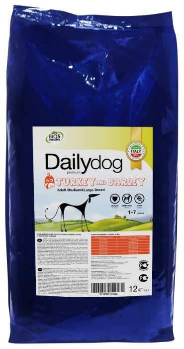 Корм для собак Dailydog (12 кг) Adult Medium and Large Breed turkey and barley