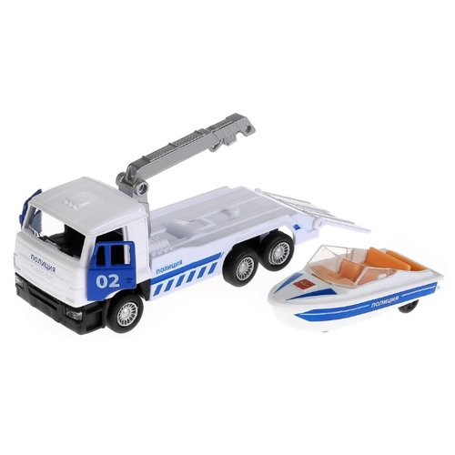 Купить Набор техники ТЕХНОПАРК Камаз эвакуатор полиция с лодкой (SB-17-24-K-WB) 12 см белый/синий, Машинки и техника