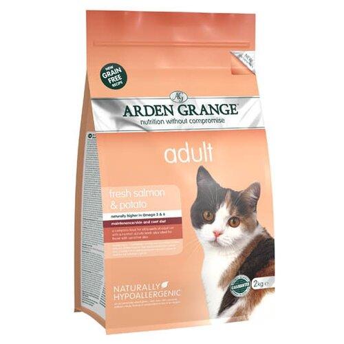 Корм для кошек Arden Grange Adult Cat лосось и картофель сухой корм беззерновой, для взрослых кошек 2 кг