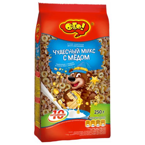 Готовый завтрак ОГО! Чудесный микс с медом колечки и воздушные зерна, пакет, 250 г