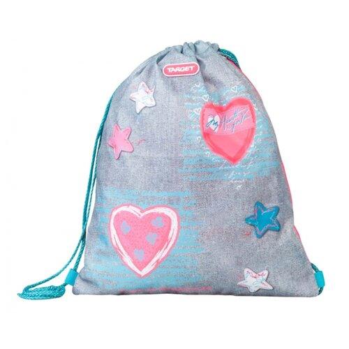 Купить Target Сумка для детской сменной обуви JERSEY LOVE (21381) серый/розовый, Мешки для обуви и формы