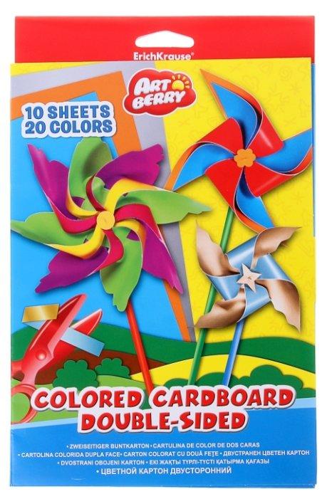 Цветной картон в папке ArtBerry, двусторонний, мелованный, В5, 10 листов, 20 цветов, игрушка-набор для детского творчества