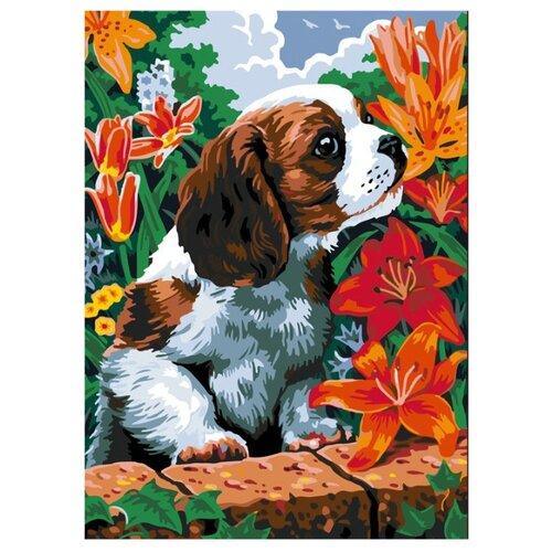 Купить Color Kit Картина по номерам Щенок и лилии 30х40 см (CE003), Картины по номерам и контурам