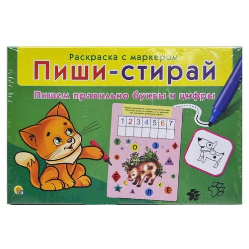 Фото - Рыжий кот Раскраска с маркером Пиши-стирай. Пишем правильно буквы и цифры развивающая игра рыжий кот игры с маркером развиваем логику и мышление