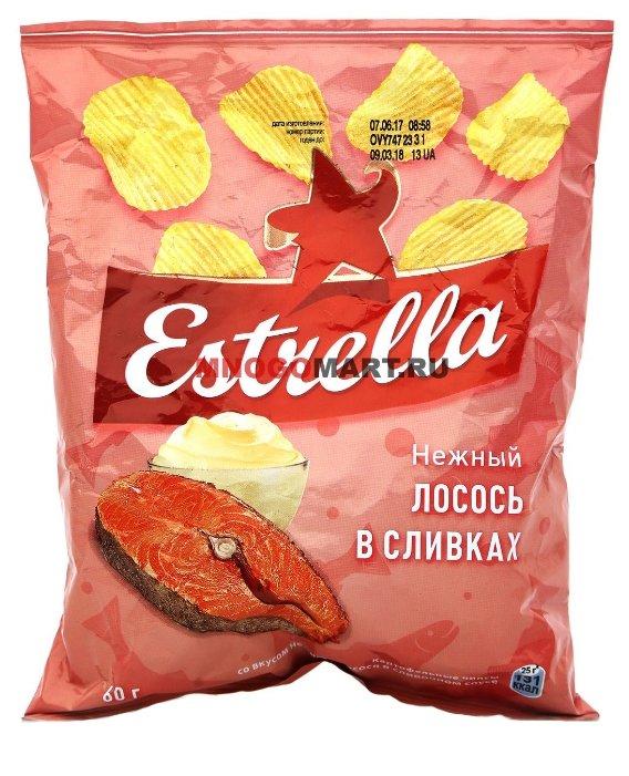 Чипсы ESTRELLA картофельные Нежный лосось в сливочном соусе рифленые