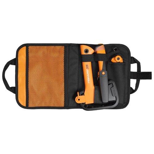 Туристический топор FISKARS Х5 + универсальный нож + садовая пила в сумке черный/оранжевый