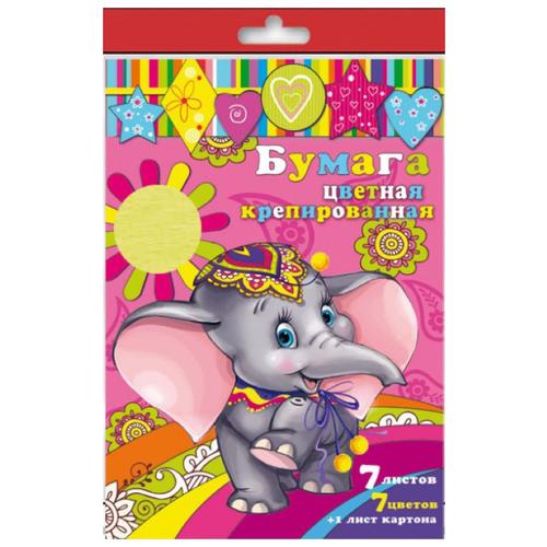 Купить Набор цветного картона и цветной бумаги крепированная 31377 Феникс+, A4, 8 л., 7 цв., Цветная бумага и картон