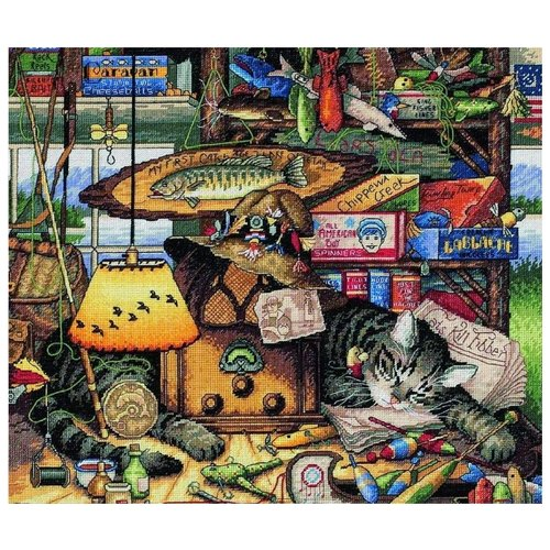 Купить Dimensions Набор для вышивания крестиком Max in the Adirondacks (Макс-рыболов) 36 х 30 см (35088), Наборы для вышивания