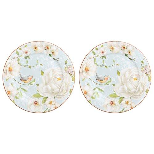 Elan gallery Набор десертных тарелок Дикая роза 19 см, 2 шт голубой/белый elan gallery набор тарелок для закуски белый узор 20 5 см 2 шт 540157 белый