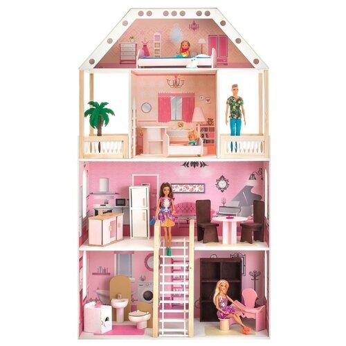 Купить PAREMO Поместье Монтевиль (с мебелью) PD318, белый/розовый, Кукольные домики
