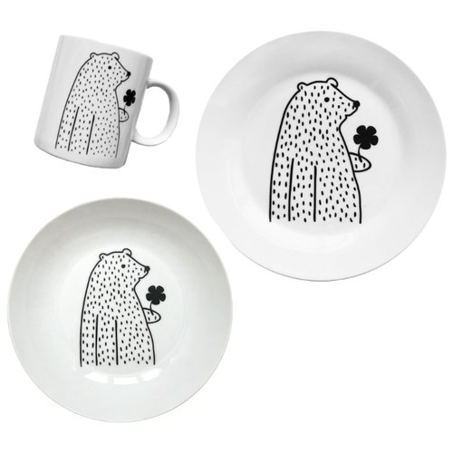 сотвори чудо набор кружек слон бубон Набор для завтрака Сотвори Чудо Цветочный мишка белый/черный