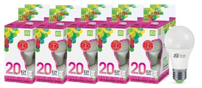 Упаковка светодиодных ламп 10 шт ASD LED-A60-standard E27, A60, 20Вт, 6500К