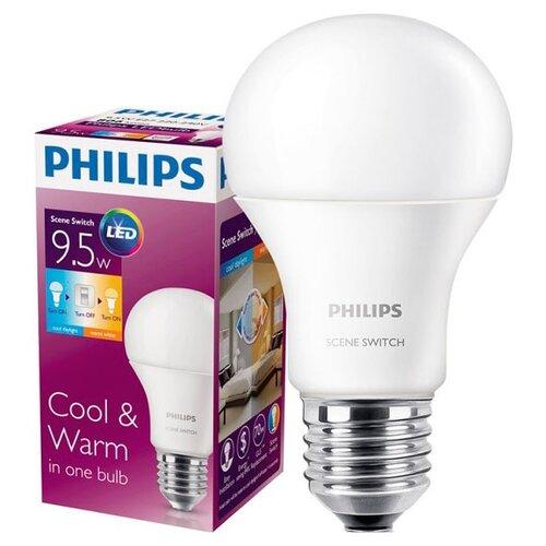 Лампа светодиодная Philips E27, A60, 9.5ВтЛампочки<br>