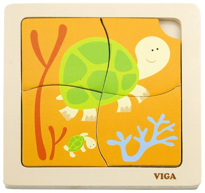 Рамка-вкладыш Viga Черепашки (50143), 4 дет.