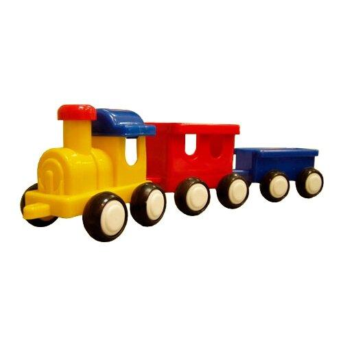 Купить Каталка-игрушка Форма Паровозик (С-57-Ф) желтый/красный/синий, Каталки и качалки