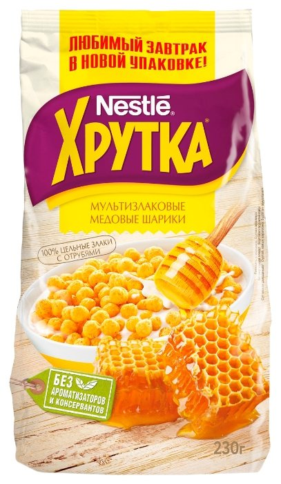 Готовый завтрак Хрутка Медовые шарики, пакет