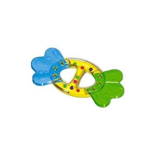 Купить Прорезыватель-погремушка Стеллар Бантик голубой/желтый/зеленый, Погремушки и прорезыватели