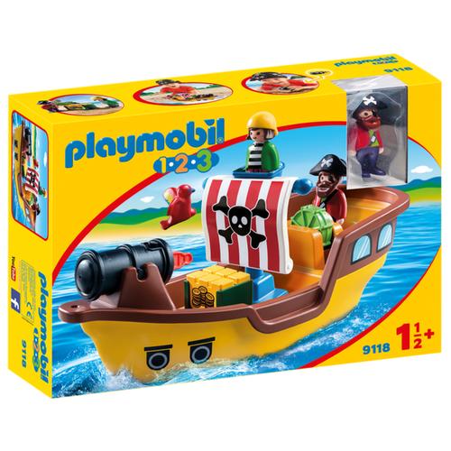 Купить Набор с элементами конструктора Playmobil 1-2-3 9118 Пиратский корабль, Конструкторы
