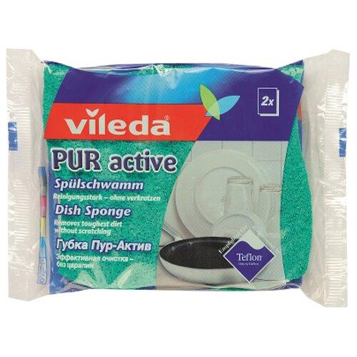 Губка для посуды Vileda Пур Актив 2 шт голубой/зеленыйТряпки, щетки, губки<br>