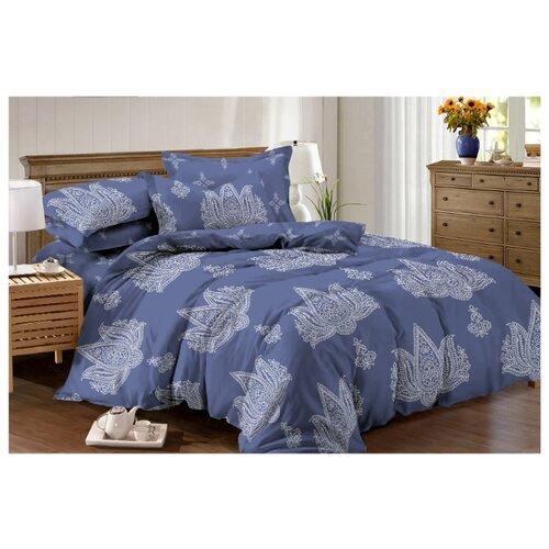 Постельное белье семейное Mango с напылением Роял 823 перкаль синий