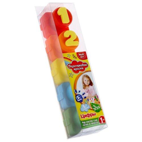 цена на MultiArt Пальчиковые краски Цифры 5 цветов х 20 мл со штампами (1515-NR)