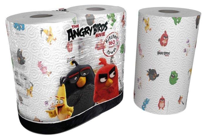 Полотенца бумажные World Cart Angry birds белые с рисунком двухслойные